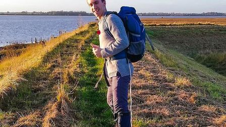 Chris Watts trudged through trecherous conditions from Great Yarmouth, through Weavers' Way to North