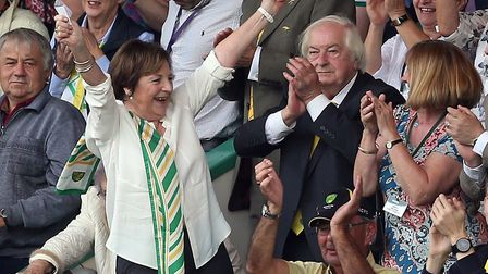 Norwich City's joint majority shareholder Delia Smith (left) celebrates victory over Middlesbrough w