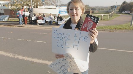 Jo Rust, secretary of the King's Lynn Trades Council at the protest outside the Queen Elizabeth Hosp