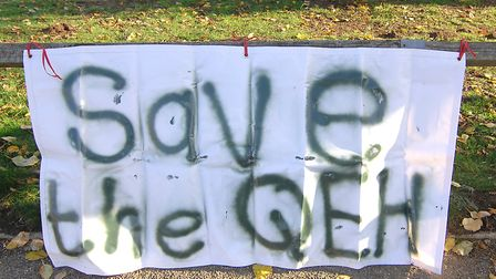 A banner outside the Queen Elizabeth Hospital in King's Lynn Picture: Chris Bishop