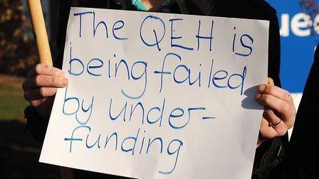 A placard at the protest outside the Queen Elizabeth Hosspital in King's Lynn Picture: Chris Bishop