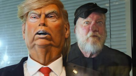 Roger Law, co-creator of the TV satire series Spitting Image with his Donald Trump puppet. Picture: