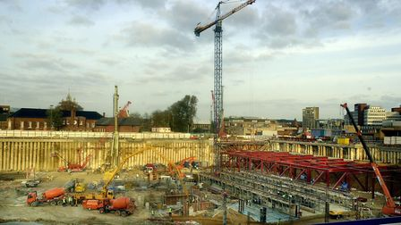 The enormous excavations for the Chapelfield development in Norwich, pictured in November 2003. Pict
