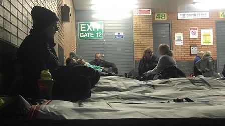 Sleeping by the South Stand at Carrow Road, nearly 150 people raised money for the Benjamin Foundati
