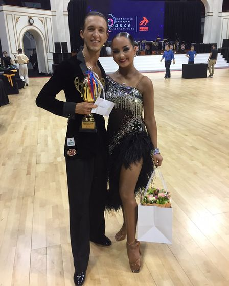 uke Miller with his competition partner Ellie Beacock after winning the 2017 Blackpool China Amateur