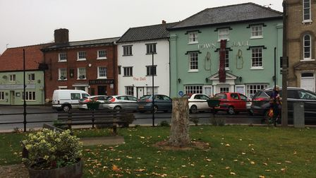 Armed police were seen in Queen's Square in Attleborough. PHOTO: Sophie Smith