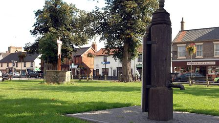 The town pump at Queen's Square, near where armed police were seen. Photo: Denise Bradley