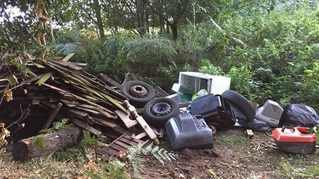 Waste illegally dumped at a farm in Attlebridge outside Norwich. Photo: Submitted