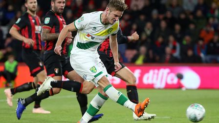 Dennis Srbeny firted straight at Artur Boruc to miss a golden chance for Norwich at Bournemouth Pict