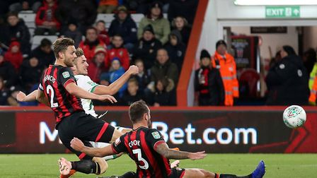 Canaries striker Srbeny hit the post late in the first half at Bournemouth Picture: Paul Chesterton/