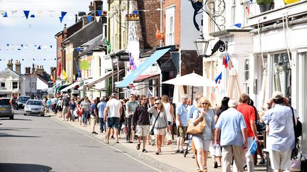 The High Street in Southwold on a busy summers day in August.Picture: James Bass