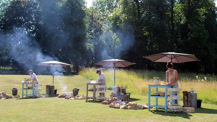 Technical Bake - pittas cooked on an open fire and three dips (C) Mark Bourdillon/Love Productions/C