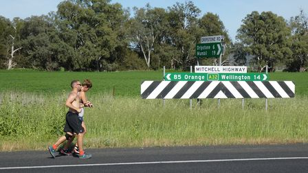 Jackson Williams on his official world record attempt running from Sydney to Perth. Picture: Jon Lee