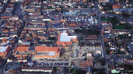 Arial views of the Dereham Shopping centre. Picture: Aerial Archaeology Publications