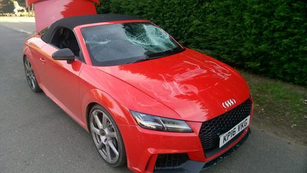 A red Audi TTRS that was stolen by the gang. Picture: Cambridgeshire Police