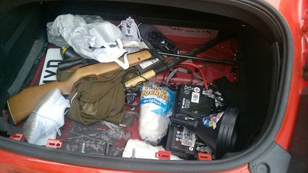 A rifle found in the boot of the Audi TTRS. Picture: Cambridgeshire Police
