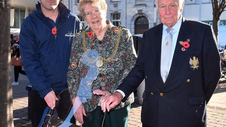Simon Clarke, Mary Coleman and Paul Williams with one of the Replacement Tommy statues that have bee