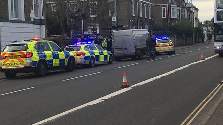 Police stop a van on St Stephen's Road, Norwich. PIC: Peter Walsh.