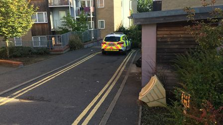 Police at scene in Foulgers Opening, following stabbing in Norwich. PIC: Peter Walsh