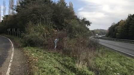 The slip road along the A47 at Blofield near Norwich where a vehicle left the carriageway. Picture:
