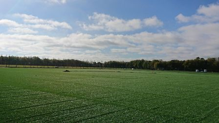 The new artifical pitch at Ketts Park is nearing completion. Photo: South Norfolk Council