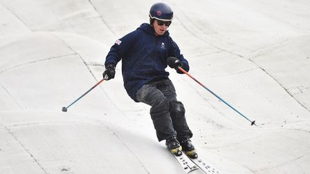 Will Feneley and Pat Sharples (pictured) from Team GB at Norfolk Snowsports Club for their 50th birt