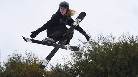 Cameron Kirby, 14, who has just become the U16 British ski freestyle champion, practicing his jumps