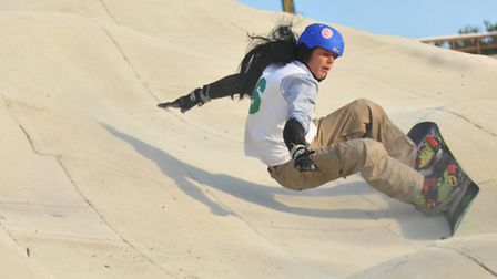 Mogul Madness at the Farmers Jam at Norfolk Snowsports Club, Whitlingham Lane. Competitors competing