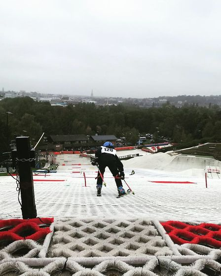 Young skiers slalom down the slope at Trowse.