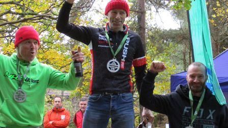 The Vet Men's 90 Minute podium, from left, Chris Hunter, Paul Groombridge and Ben Findlay at the The