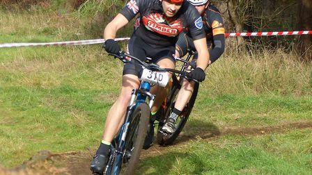Sam Davey (VC Norwich and TIMBER) leads Glenn Stanford at the Thetford Forest MTB racing Picture: F