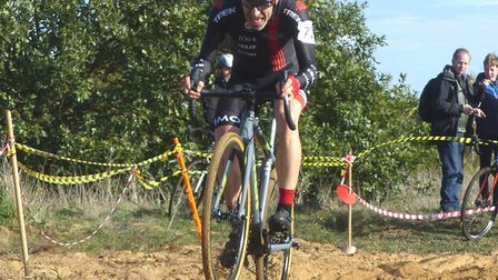 Norwich rider and Vets 50+ winner Jimmy Piper masters the sand-pit at the West Stow cyclo-cross Pict