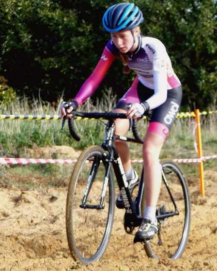 King's Lynn rider Bethany Barnett in her new LIV AWOL colours at the West Stow cyclo-cross Picture: