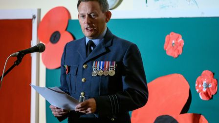 Scenes fro the RAF Marham Remembrance Event held at Cherry Tree Academy. Picture: Matthew Usher.