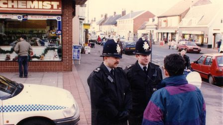 Police speaking to people on Watton High Street. Officers pursued 4,500 lines of enquiry and took 16