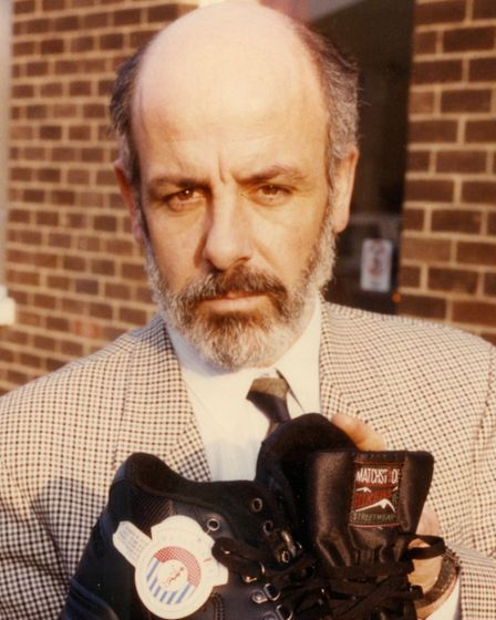 PC Peter Walmsley, Norfolk police's press spokesman at the time, holding Johanna's trainers. They we
