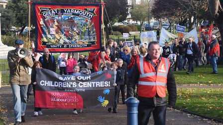 Protesters against the closure of children's centres in Norfolk march through Great Yarmouth. Pictur