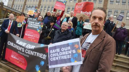 Councillor Mike Smith-Slare, Labour lead for children and young people, at the protest at County Hal