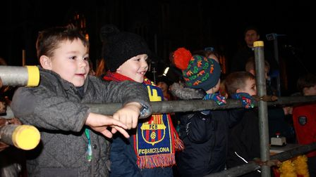 Suffield Park Infants School pupils on stage at Cromer Christmas lights switch-on eventPhoto: KAREN