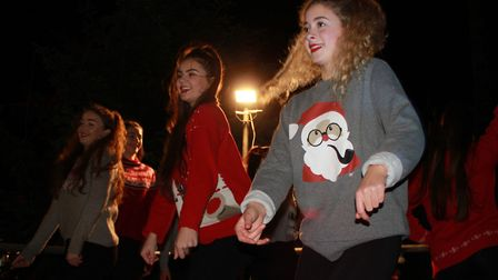 Marlene's School of Dance members entertaining the crowds at Cromer Christmas lights switch-on event
