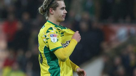 Todd Cantwell celebrates a star turn in Norwich City's victory over Rotherham United at Carrow Road.