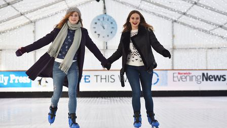 Norwich ice rink at Norwich Castle Gardens.Picture: ANTONY KELLY