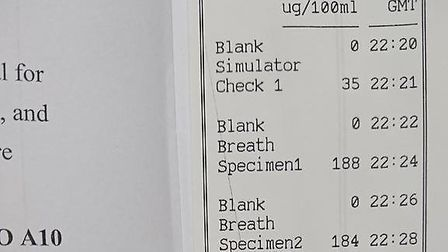 The driver was found to be more than five times the legal limit to drive. Photo: Norfolk and Suffolk