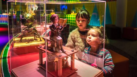 Adelaide and Alba Gilding enjoying The Mechanical Circus exhibition at The Forum, Norwich marking th