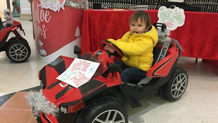 Koa, Mrs Kidd's son in one of the cars. Picture: Archant
