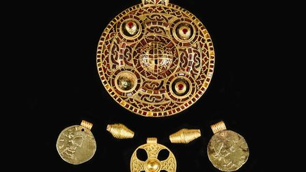 The Anglo-Saxon pendant and other finds from the Winfarthing grave assemblage. Picture: Norfolk Muse