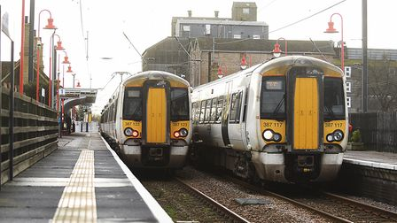 Two Great Northern line trains on the platform at Downham Market Railway Station. Picture: Ian Burt