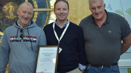 To honour their father, Gordon Shiplee, Glenn (left) and Stephen (right) is pictured with Mr Mark Mo
