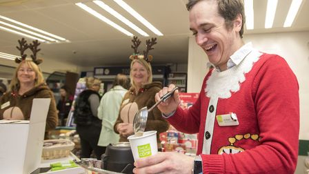 Oli Watts in the Christmas spirit at one of the East of England Co-op stores last year Picture: Angl