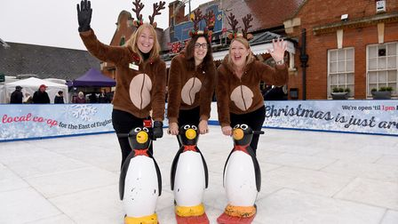 At Felixstowe Ice Rink last year, Lynn Warner, Community Events Manager, Amy Stagg, Community Engage